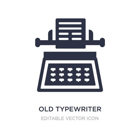 old typewriter icon on white background. Simple element illustration from General concept. old typewriter icon symbol design. Ilustrace