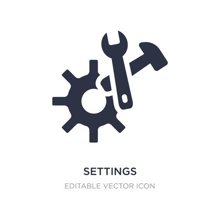 settings cogwheel button icon on white background. Simple element illustration from UI concept. settings cogwheel button icon symbol design. Ilustracja