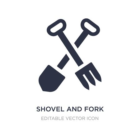 shovel and fork icon on white background. Simple element illustration from Construction and tools concept. shovel and fork icon symbol design.
