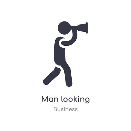 man looking outline icon. isolated line vector illustration from business collection. editable thin stroke man looking icon on white background Illusztráció