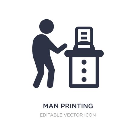man printing icon on white background. Simple element illustration from Fashion concept. man printing icon symbol design. Ilustracja