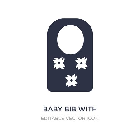 baby bib with flower de icon on white background. Simple element illustration from Fashion concept. baby bib with flower de icon symbol design.