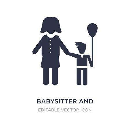icono de niñera y niño sobre fondo blanco. Ilustración de elemento simple del concepto de personas. diseño de símbolo de icono de niñera y niño.