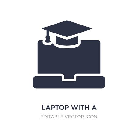 laptop with a graduation cap icon on white background. Simple element illustration from Computer concept. laptop with a graduation cap icon symbol design.