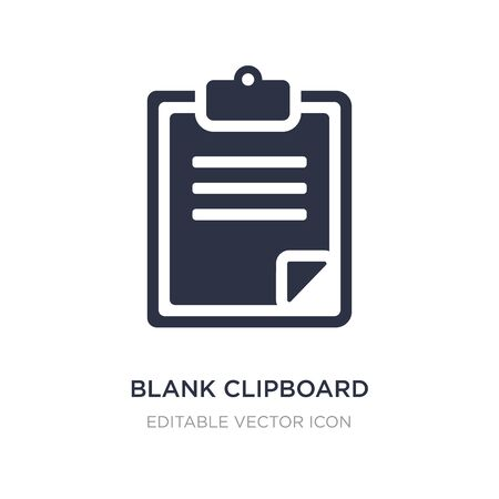 blank clipboard icon on white background. Simple element illustration from Education concept. blank clipboard icon symbol design. Ilustração