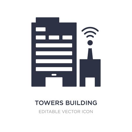 towers building transmission icon on white background. Simple element illustration from Buildings concept. towers building transmission icon symbol design.