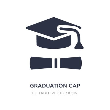 graduation cap and diploma icon on white background. Simple element illustration from Education concept. graduation cap and diploma icon symbol design. Ilustração