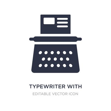 typewriter with paper icon on white background. Simple element illustration from General concept. typewriter with paper icon symbol design.