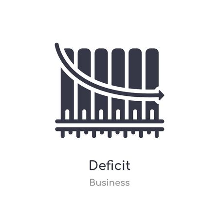 deficit outline icon. isolated line vector illustration from business collection. editable thin stroke deficit icon on white background Stock Illustratie