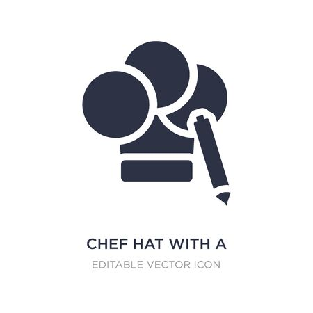 chef hat with a pencil icon on white background. Simple element illustration from General concept. chef hat with a pencil icon symbol design. Ilustração