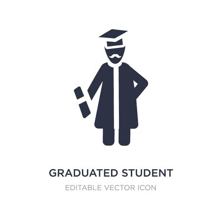 graduated student icon on white background. Simple element illustration from People concept. graduated student icon symbol design.