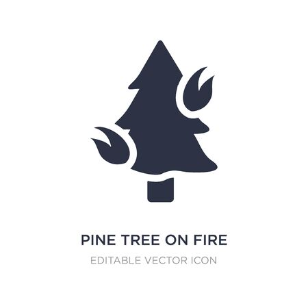 pine tree on fire icon on white background. Simple element illustration from Nature concept. pine tree on fire icon symbol design. Illusztráció