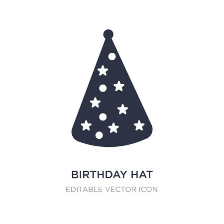 birthday hat with dots and stars icon on white background. Simple element illustration from Fashion concept. birthday hat with dots and stars icon symbol design.