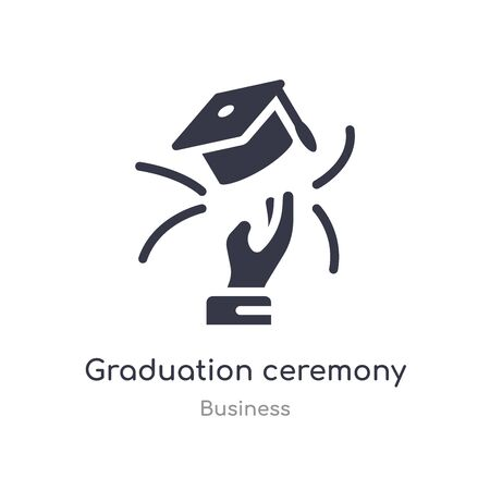 graduation ceremony outline icon. isolated line vector illustration from business collection. editable thin stroke graduation ceremony icon on white background
