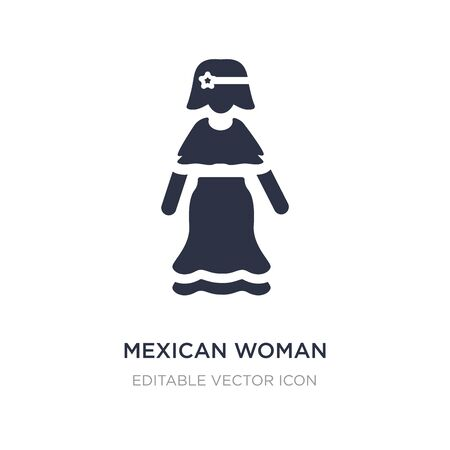 mexican woman icon on white background. Simple element illustration from People concept. mexican woman icon symbol design. Illusztráció