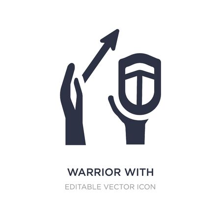 warrior with sword and shield icon on white background. Simple element illustration from Guestures concept. warrior with sword and shield icon symbol design.