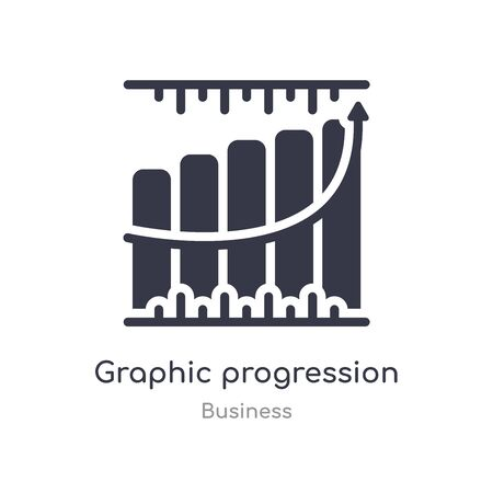 graphic progression outline icon. isolated line vector illustration from business collection. editable thin stroke graphic progression icon on white background