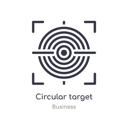 circular target outline icon. isolated line vector illustration from business collection. editable thin stroke circular target icon on white background