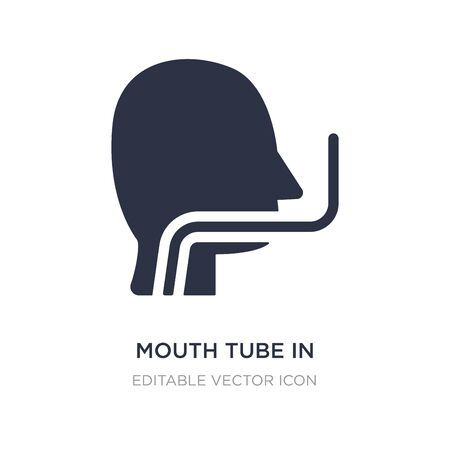 mouth tube in bald male head icon on white background. Simple element illustration from Medical concept. mouth tube in bald male head icon symbol design.