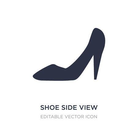 icono de vista lateral del zapato sobre fondo blanco. Ilustración de elemento simple del concepto de moda. Diseño de símbolo de icono de vista lateral de zapato. Ilustración de vector