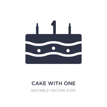 cake with one candle icon on white background. Simple element illustration from Food concept. cake with one candle icon symbol design.