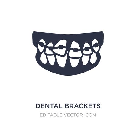 icono de soportes dentales sobre fondo blanco. Ilustración de elemento simple del concepto de dentista. Diseño de símbolo de icono de soportes dentales.