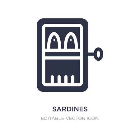 icono de sardinas sobre fondo blanco. Ilustración de elemento simple del concepto de comida. diseño de símbolo de icono de sardinas. Ilustración de vector