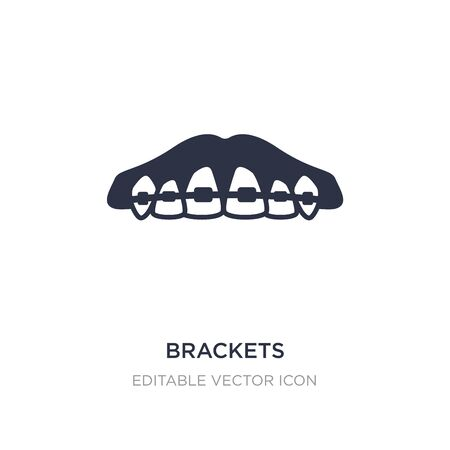 brackets icon on white background. Simple element illustration from Dentist concept. brackets icon symbol design.