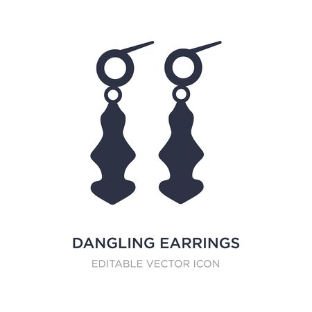 dangling earrings icon on white background. Simple element illustration from Fashion concept. dangling earrings icon symbol design. 矢量图像