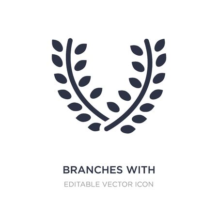 branches with leaves icon on white background. Simple element illustration from Nature concept. branches with leaves icon symbol design.