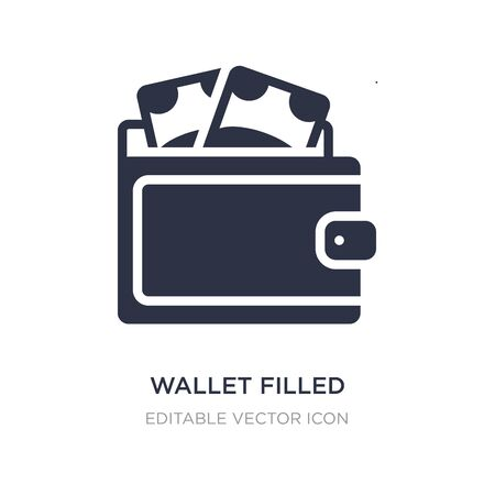 wallet filled money tool icon on white background. Simple element illustration from Commerce concept. wallet filled money tool icon symbol design.