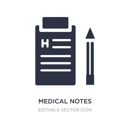 medical notes of a list paper on a clipboard icon on white background. Simple element illustration from Medical concept. medical notes of a list paper on a clipboard icon symbol design.