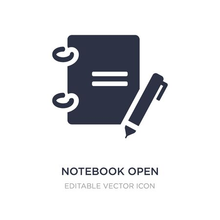notebook open with bookmark icon on white background. Simple element illustration from Education concept. notebook open with bookmark icon symbol design.