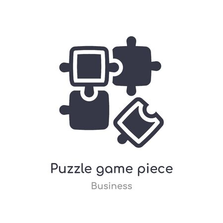puzzle game piece outline icon. isolated line vector illustration from business collection. editable thin stroke puzzle game piece icon on white background