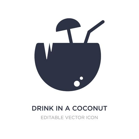drink in a coconut icon on white background. Simple element illustration from Food concept. drink in a coconut icon symbol design.