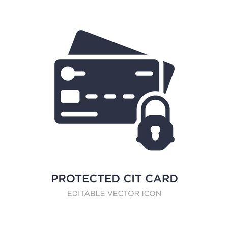 protected cit card icon on white background. Simple element illustration from Security concept. protected cit card icon symbol design.