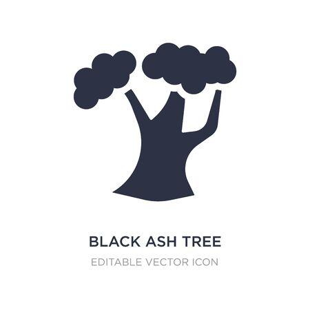 icono de árbol de fresno negro sobre fondo blanco. Ilustración de elemento simple del concepto de naturaleza. Diseño de símbolo de icono de árbol de fresno negro. Ilustración de vector
