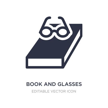 book and glasses icon on white background. Simple element illustration from Education concept. book and glasses icon symbol design. Ilustração