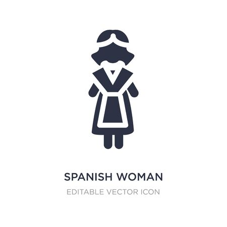 spanish woman icon on white background. Simple element illustration from People concept. spanish woman icon symbol design. 矢量图像