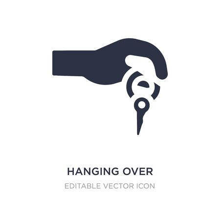 hanging over the key icon on white background. Simple element illustration from Guestures concept. hanging over the key icon symbol design. Çizim