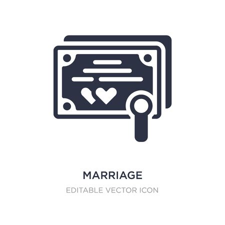 marriage certificate icon on white background. Simple element illustration from Security concept. marriage certificate icon symbol design. 일러스트