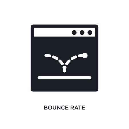bounce rate isolated icon. simple element illustration from technology concept icons. bounce rate editable sign symbol design on white background. can be use for web and mobile Vetores