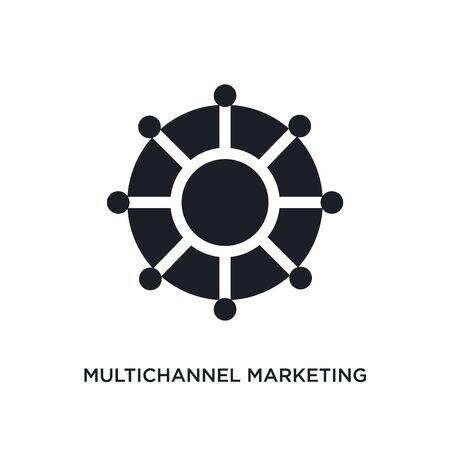 icona isolata di marketing multicanale. illustrazione semplice elemento dalle icone del concetto di tecnologia. disegno di simbolo del segno modificabile di marketing multicanale su priorità bassa bianca. può essere utilizzato per il web e