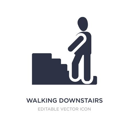 walking downstairs icon on white background. Simple element illustration from People concept. walking downstairs icon symbol design.