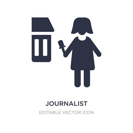 journalist woman talking about culture icon on white background. Simple element illustration from People concept. journalist woman talking about culture icon symbol design.