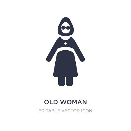 old woman icon on white background. Simple element illustration from People concept. old woman icon symbol design. Stock Illustratie