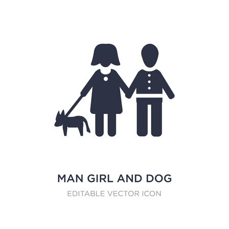 man girl and dog icon on white background. Simple element illustration from People concept. man girl and dog icon symbol design. Stock Illustratie