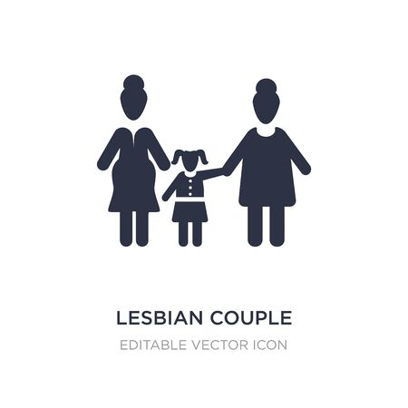 lesbian couple and son icon on white background. Simple element illustration from People concept. lesbian couple and son icon symbol design. Stock Illustratie