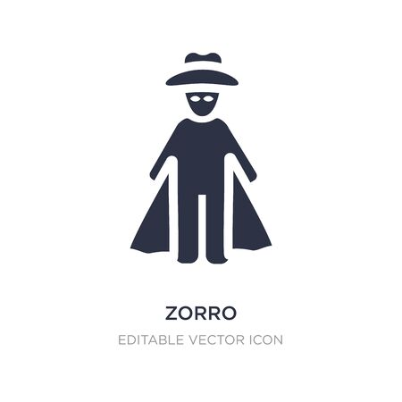 zorro icon on white background. Simple element illustration from People concept. zorro icon symbol design. Stock Illustratie