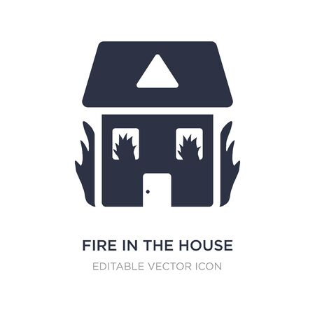 fire in the house icon on white background. Simple element illustration from Buildings concept. fire in the house icon symbol design.